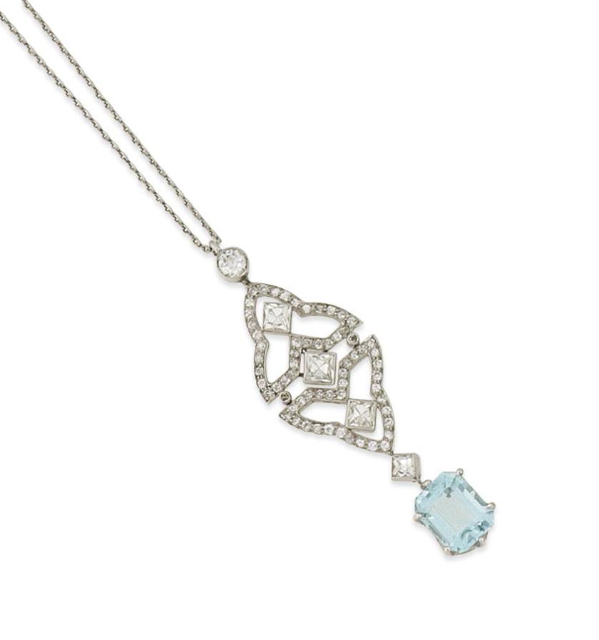 An Art Deco aquamarine and diamond pendant, by Tiffany & Co.
