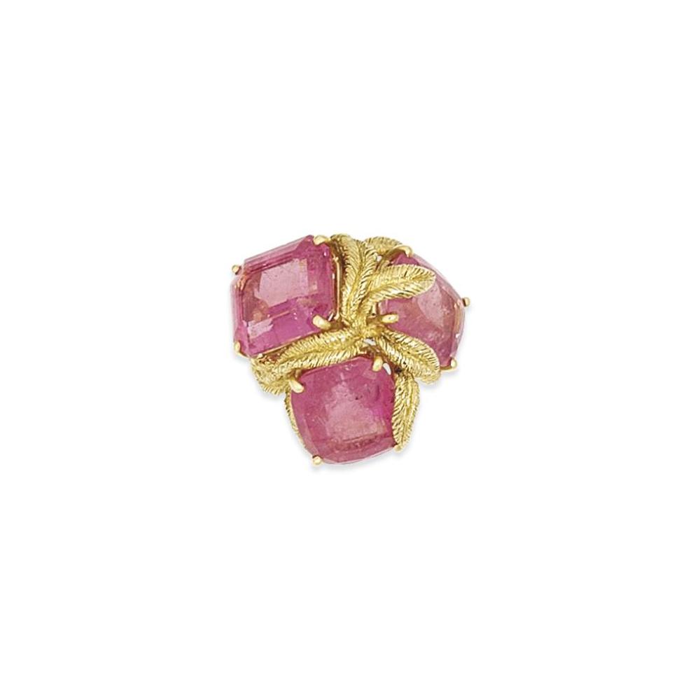 A pink tourmaline dress ring