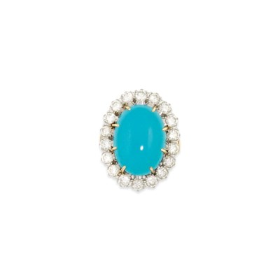 A turquoise and diamond cluste