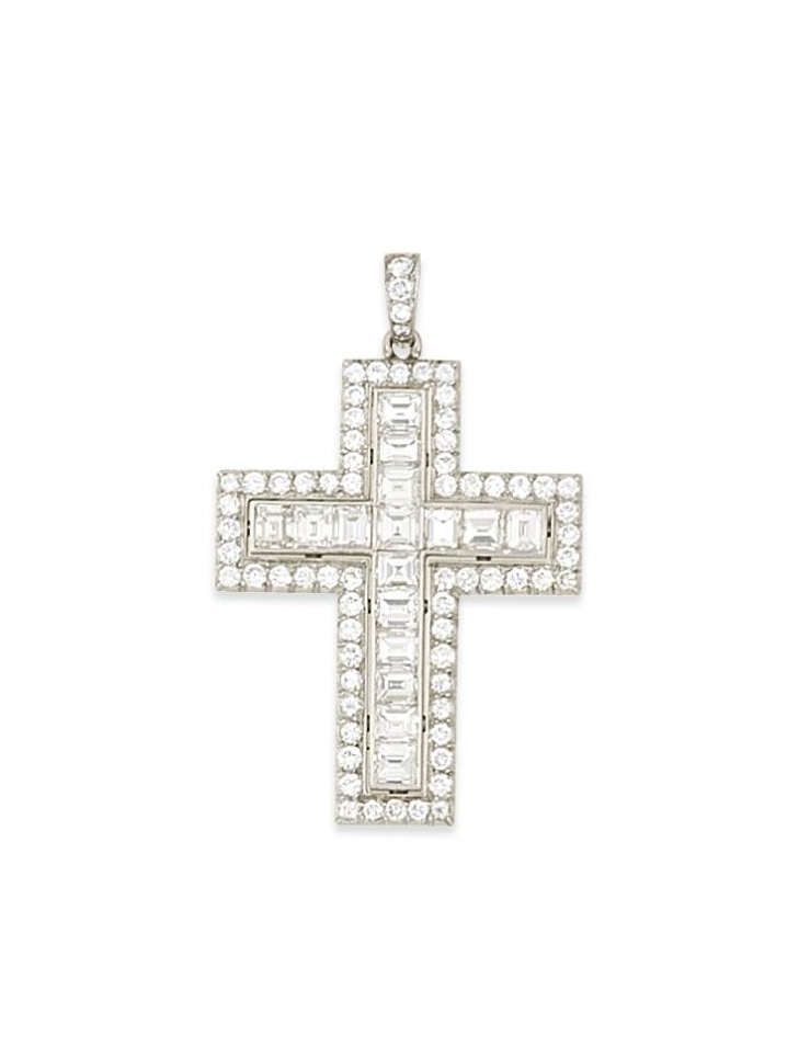 A diamond cross pendant, by Bulgari