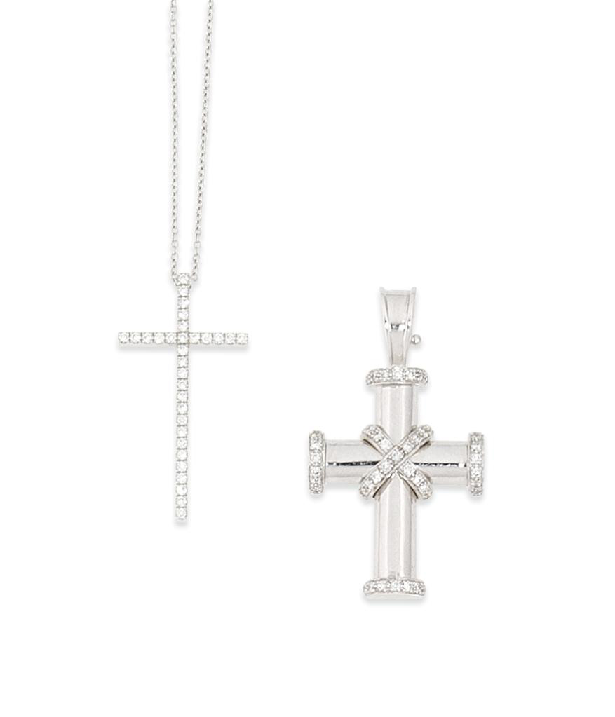 Two diamond-set cross pendants, by Tiffany & Co and Theo Fennell