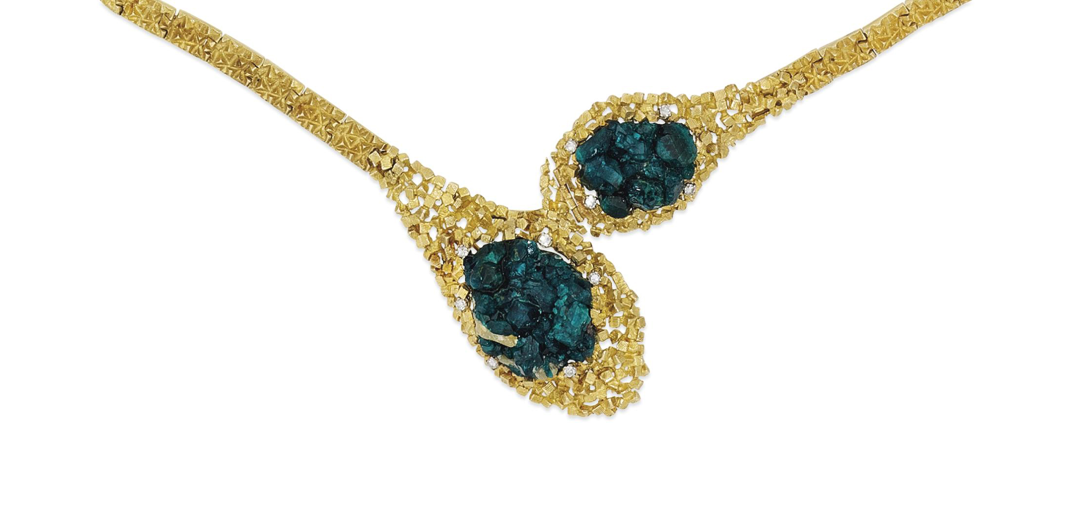 A dioptase crystal and diamond-set necklace / brooch, by John Donald