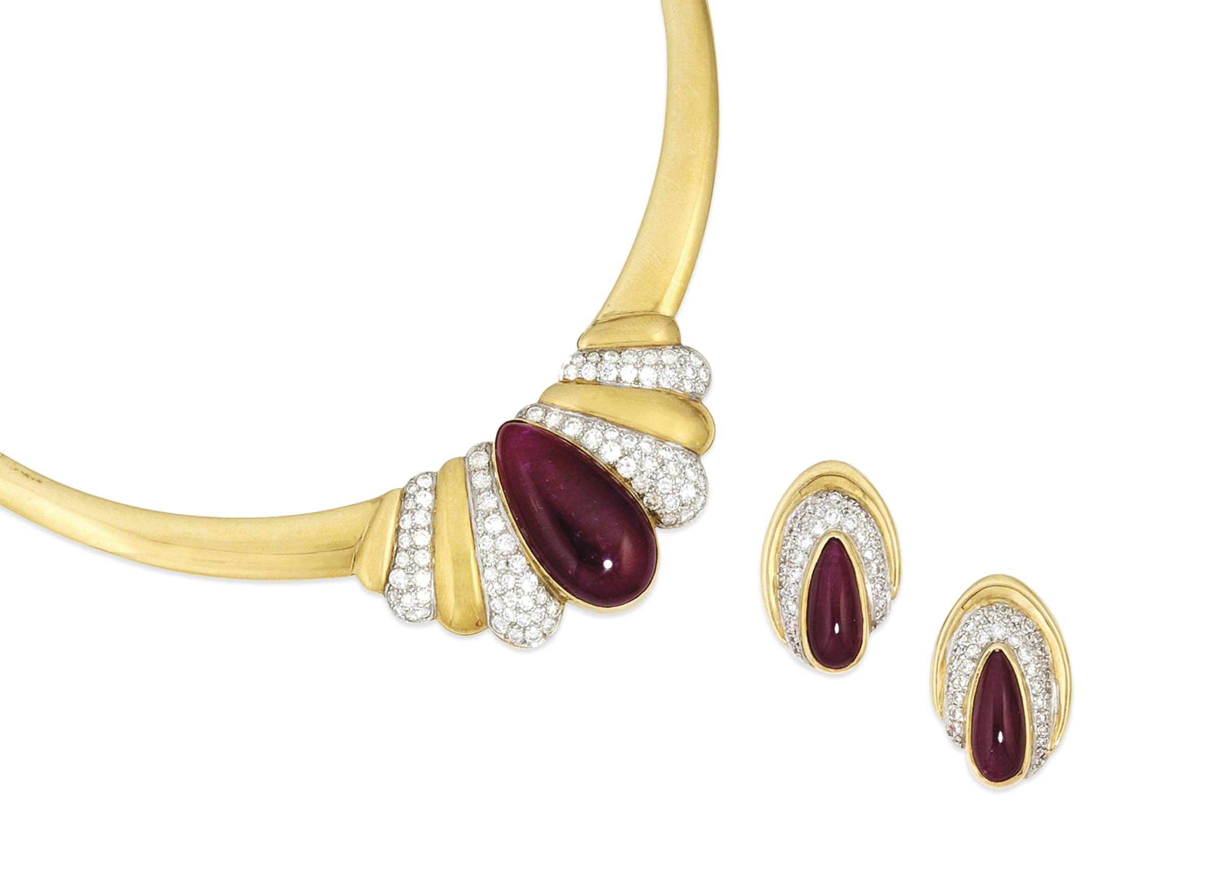 A ruby and diamond necklace and earrings