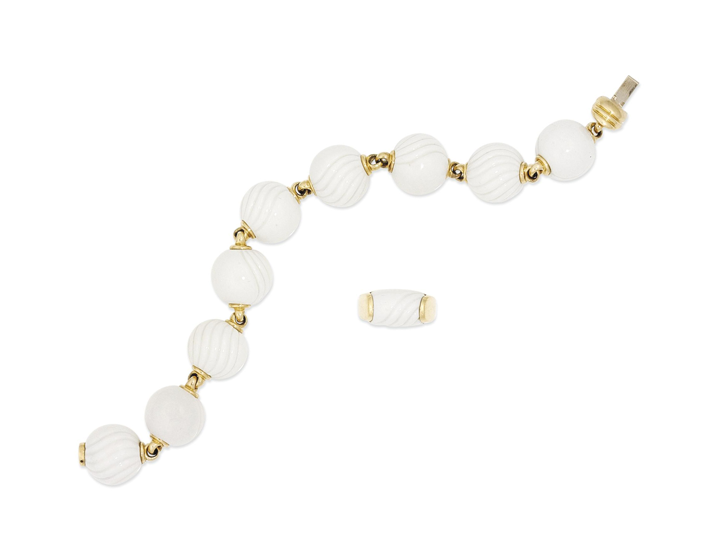 A porcelain 'Chandra' bracelet and ring suite, by Bulgari