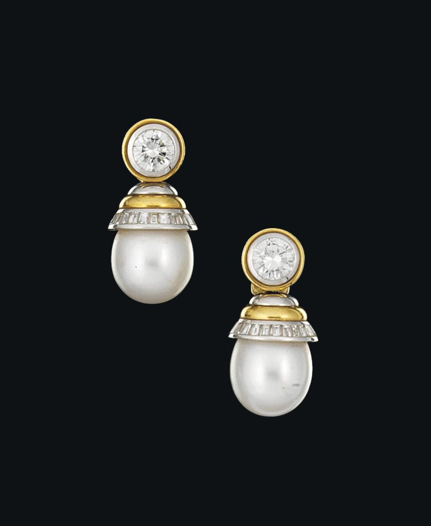 A pair of diamond and cultured pearl earrings, by Hemmerle