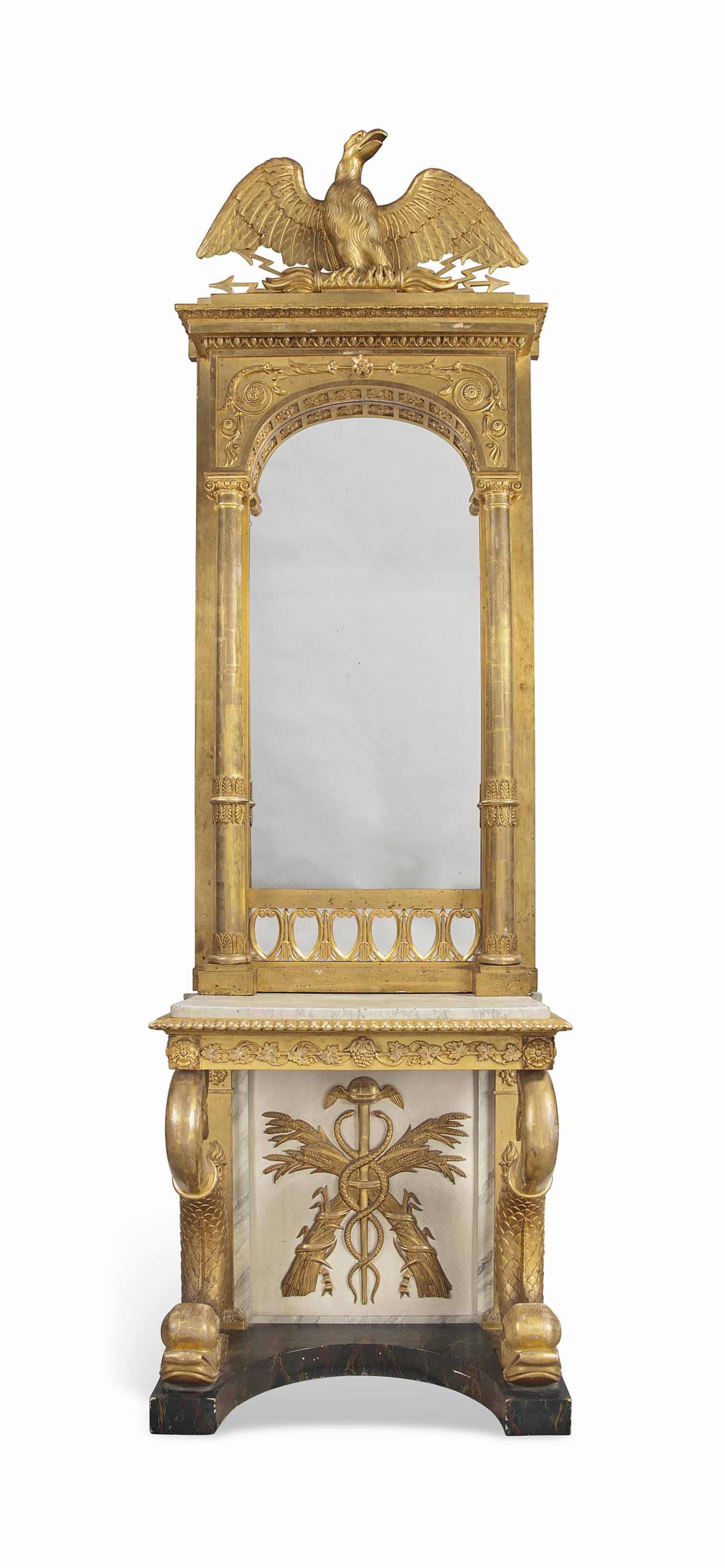 A LATE GUSTAVIAN GILTWOOD AND PAINTED CONSOLE TABLE AND EN SUITE MIRROR
