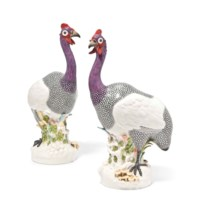 TWO LARGE SAMSON MODELS OF GUINEA FOWL