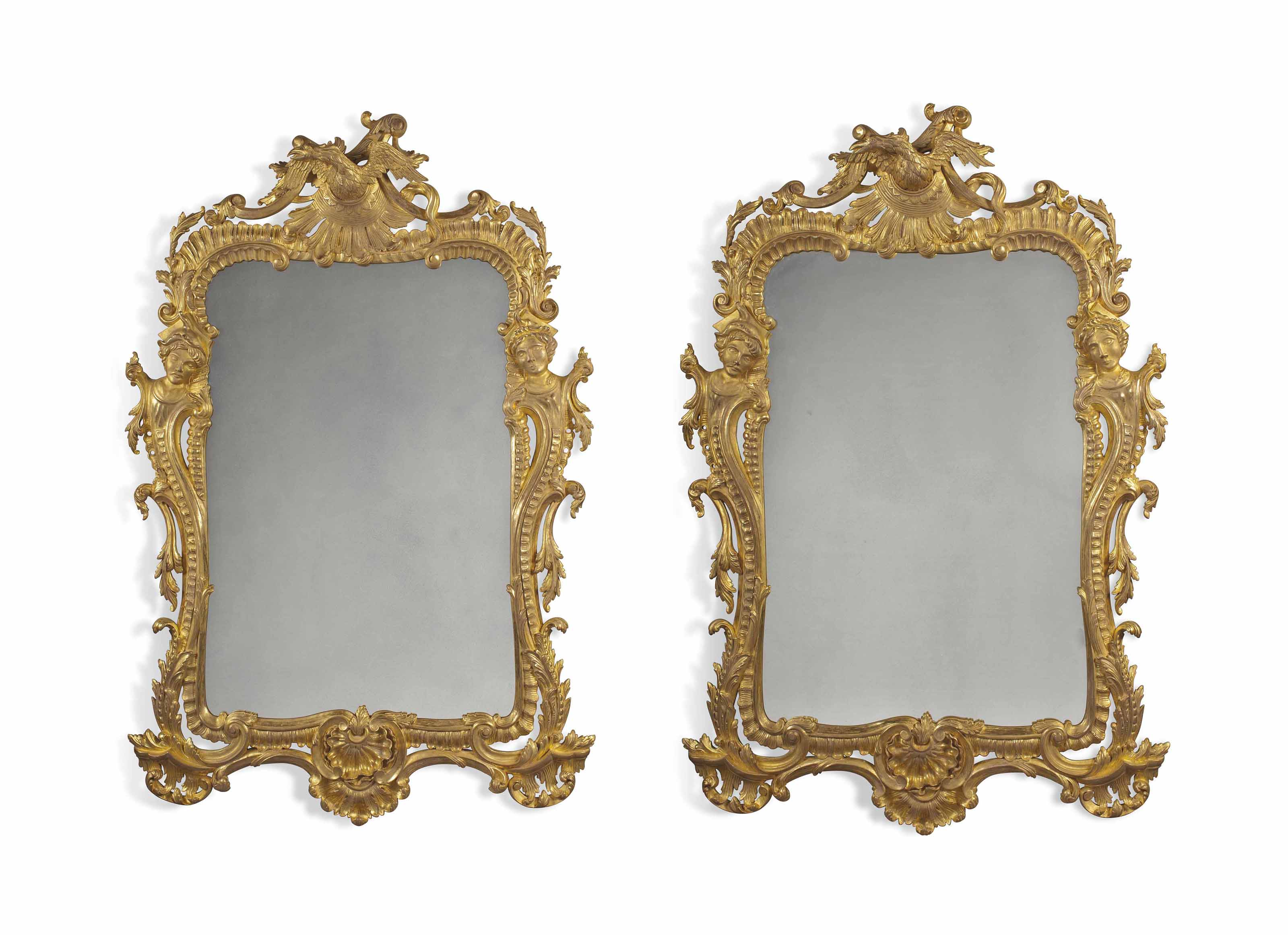 A  PAIR OF LARGE CARVED GILTWOOD MIRRORS
