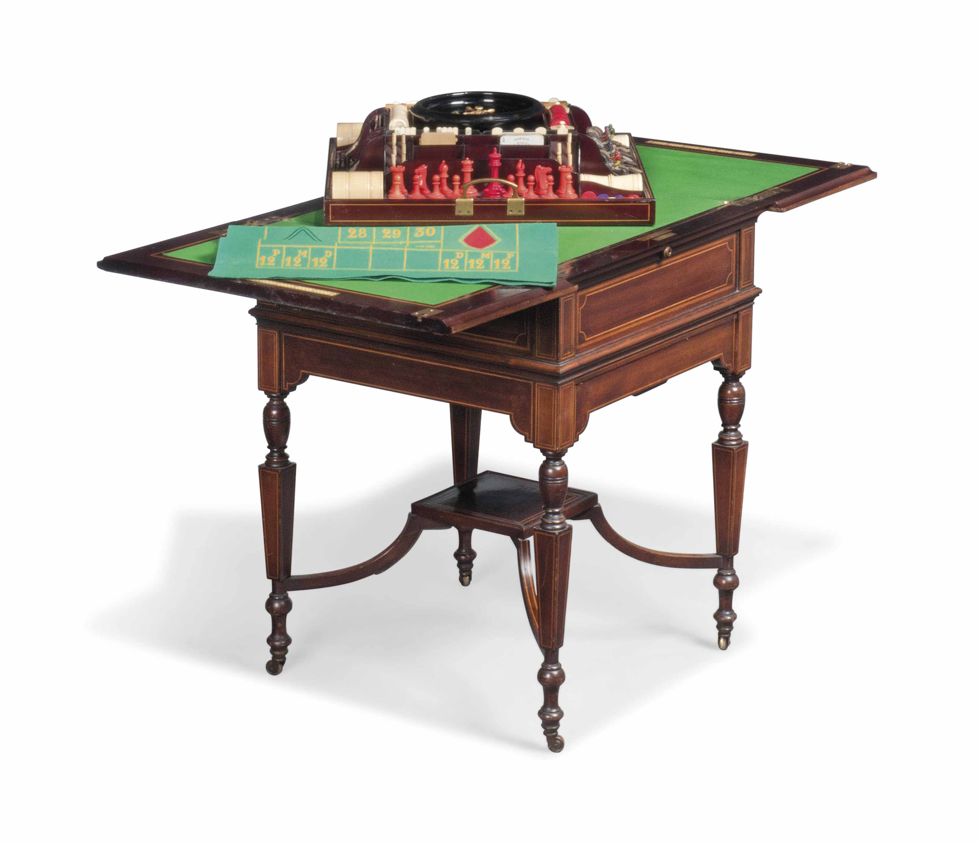 A LATE VICTORIAN MAHOGANY AND SATINWOOD BANDED MULTI-GAMES TABLE