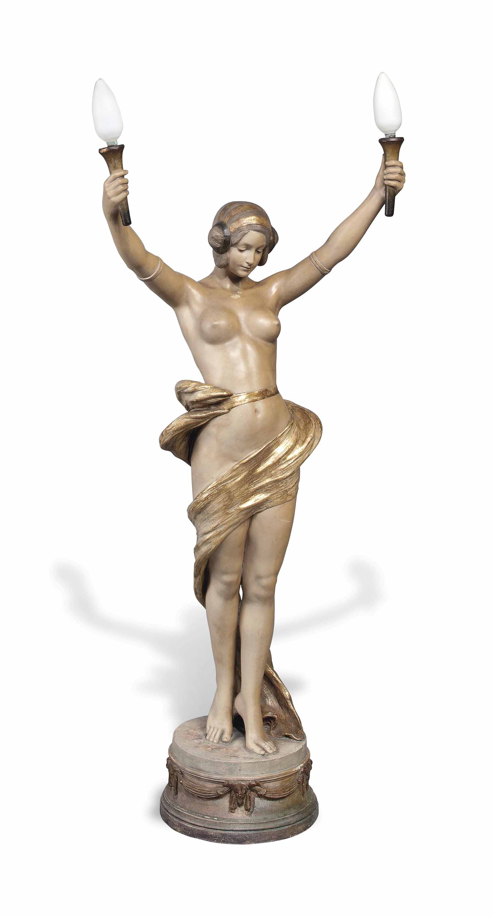 A TALL ART NOUVEAU GOLDSCHEIDER EARTHENWARE FIGURAL LAMP AFTER A MODEL BY LAVERY