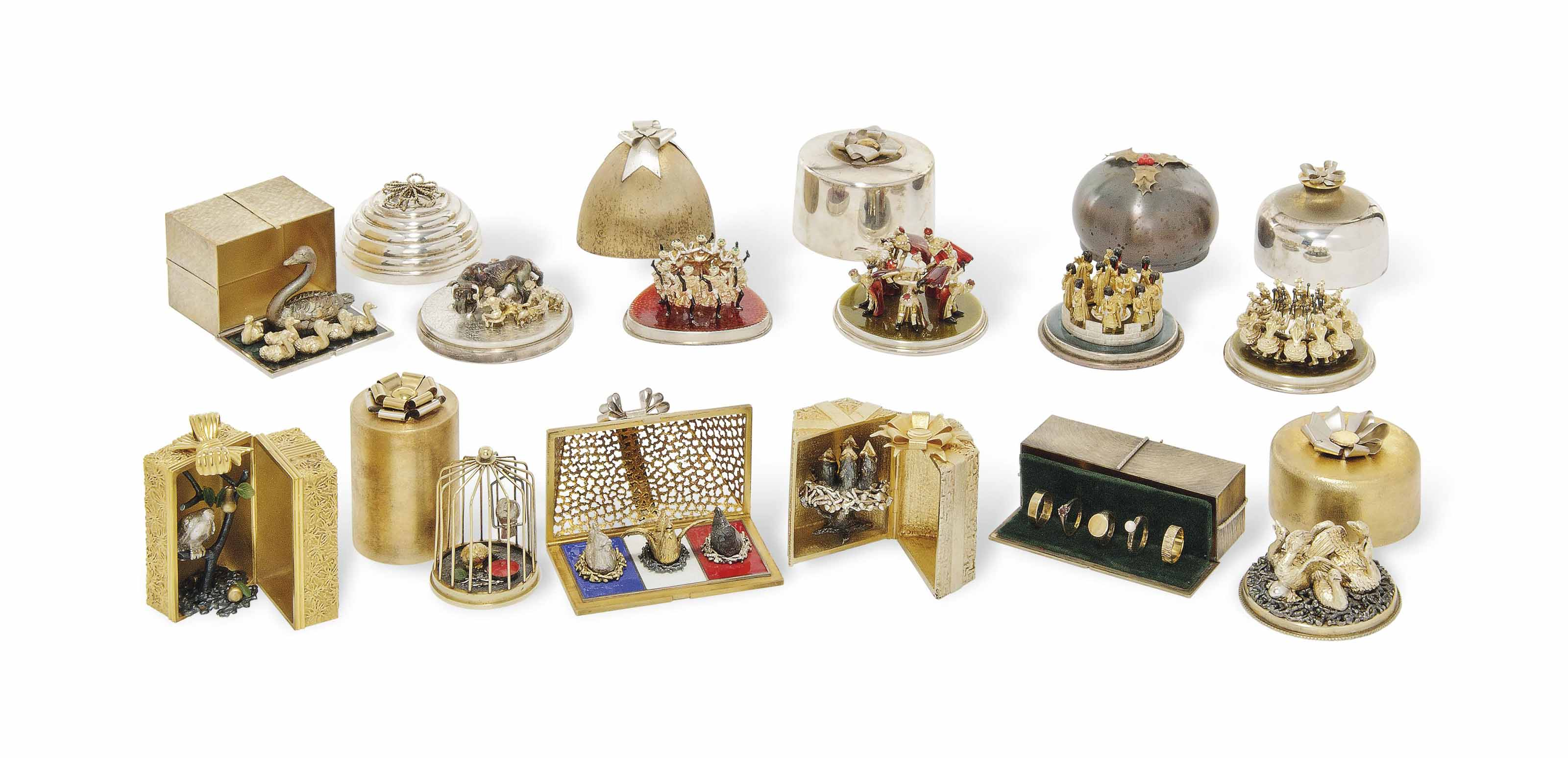 """""""THE TWELVE YEARS OF CHRISTMAS"""", A SET OF TWELVE """"SURPRISE"""" SILVER-GILT AND PARCEL-GILT SILVER BOXES"""