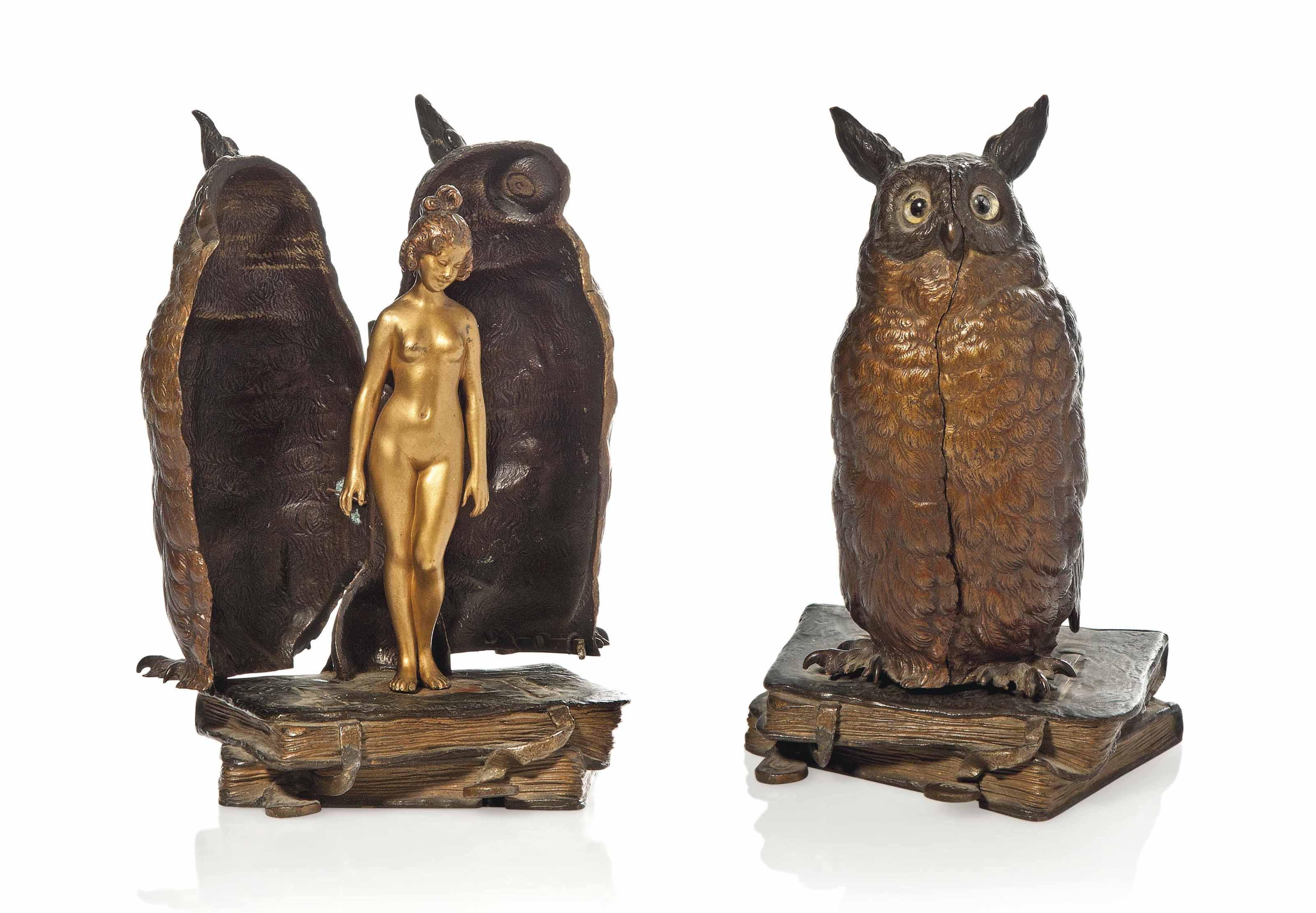 'OWL' A FRANZ XAVIER BERGMANN (1861-1936) COLD-PAINTED BRONZE GROUP