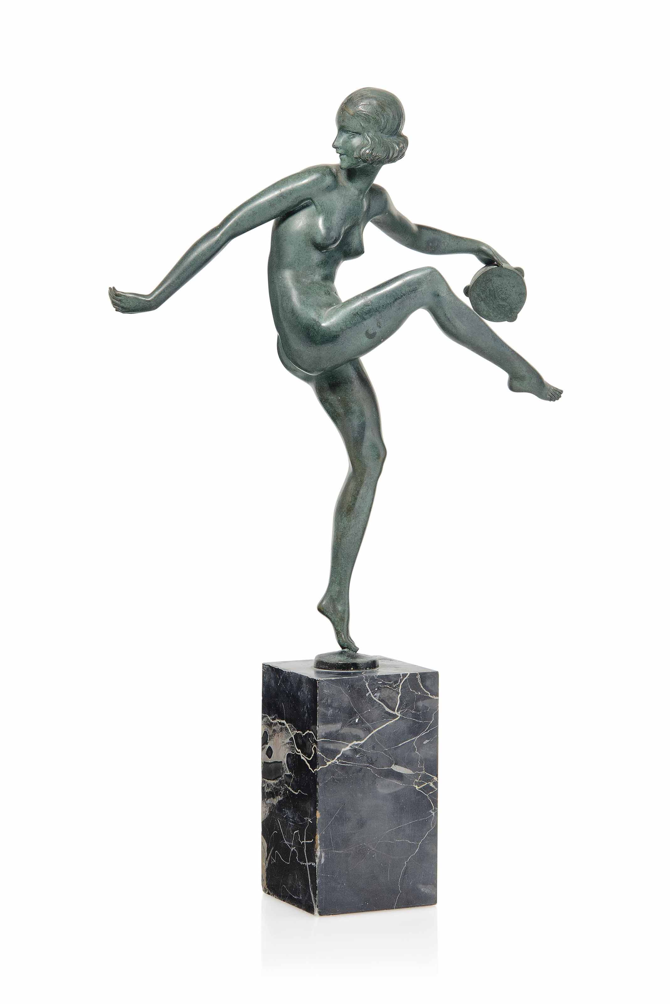 'TAMBOURINE DANCER', A PIERRE LAUREL COLD-PAINTED BRONZE FIGURE