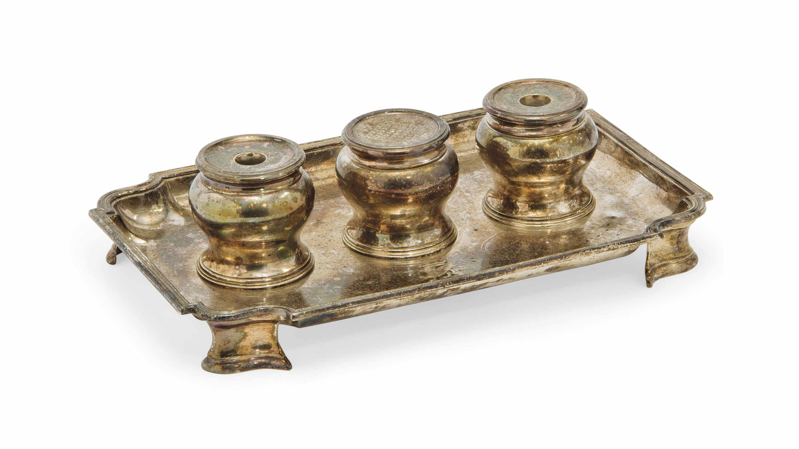 A SILVER INKSTAND  OF GEORGE II STYLE