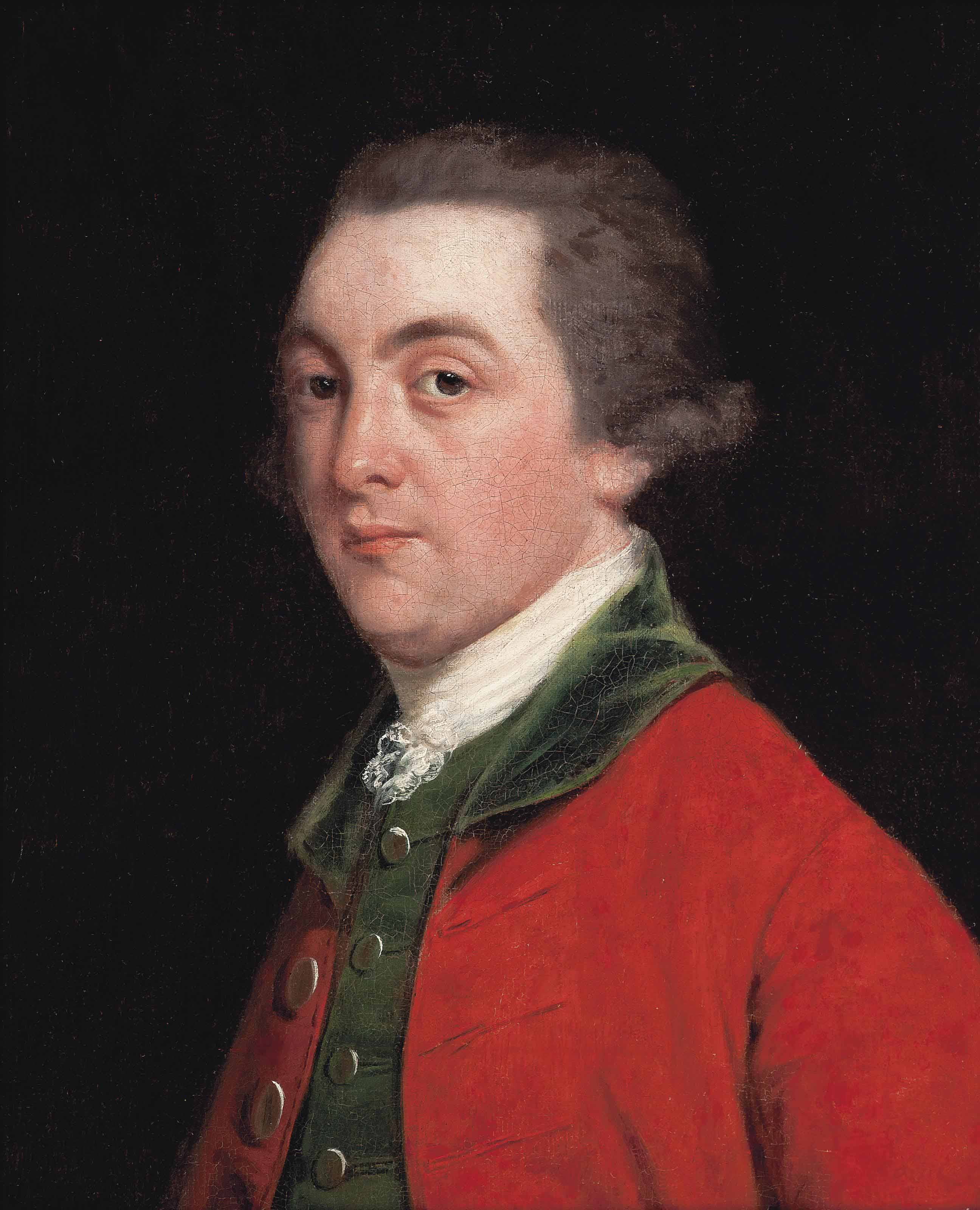 Portrait of John FitzPatrick, 2nd Earl of Upper Ossory (1745-1818), half-length, in a red coat and green waistcoat