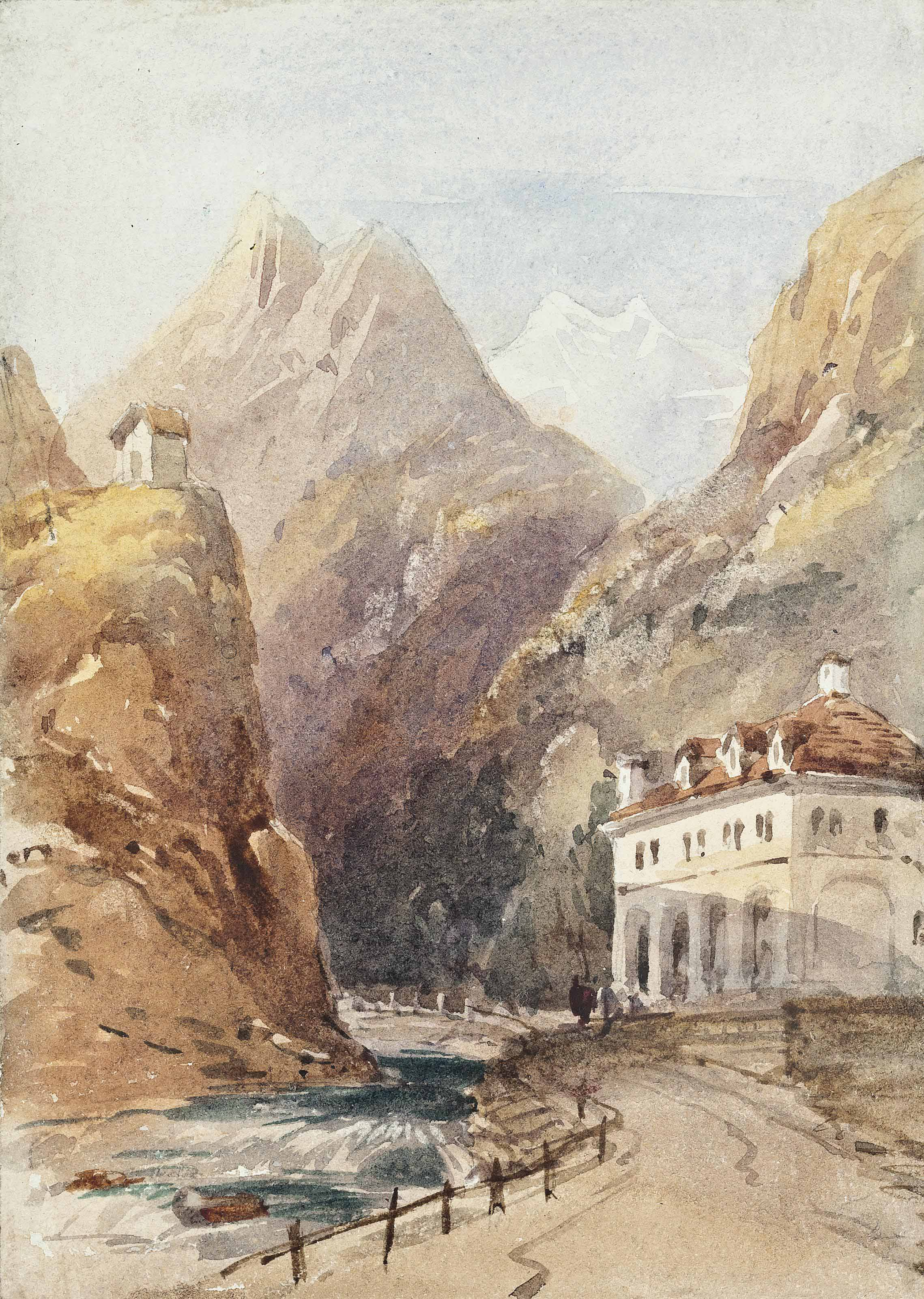 The Simplon Pass, Iselle; Figures before a church under moonlight; An Alpine landscape with a boat; and A monochromatic study of figures before a bridge below a castle