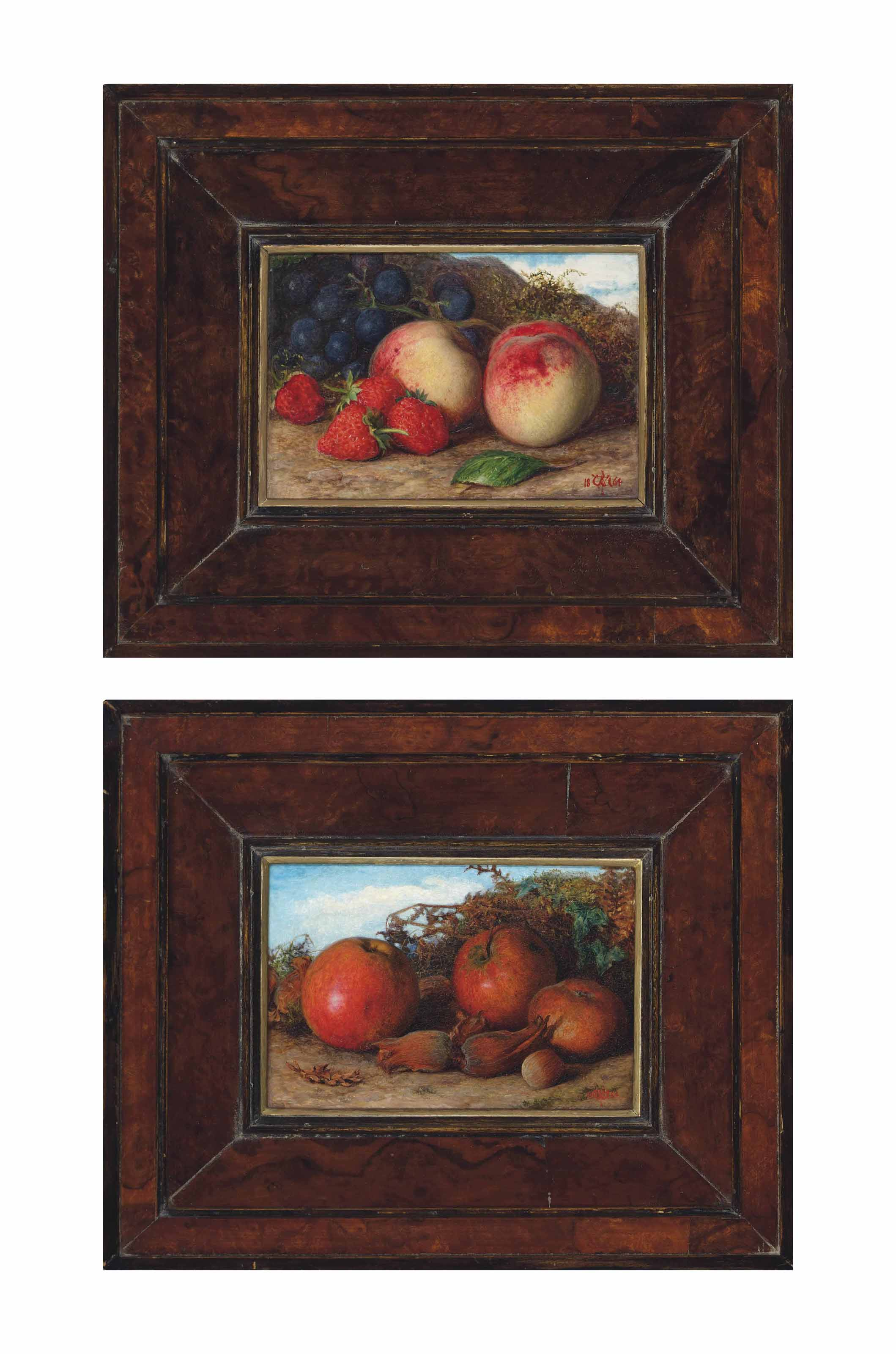 Summer: Still life of strawberries, peaches and grapes; and Autumn: Still life of apples and cobnuts