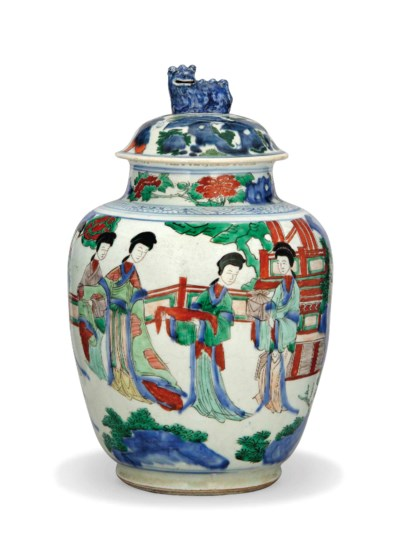 A CHINESE WUCAI VASE AND A COV