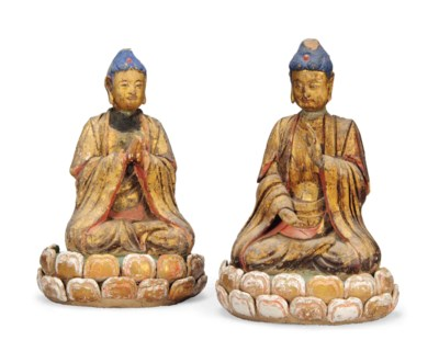 A PAIR OF CHINESE STUCCO AND G