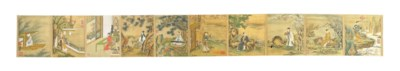 A CHINESE PAINTED SILK HAND SC