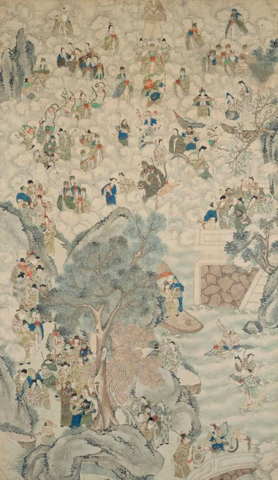 A LARGE CHINESE IMMORTAL PAINT