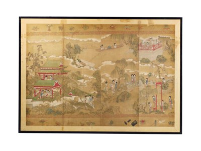 A LARGE CHINESE PAINTING OF CO