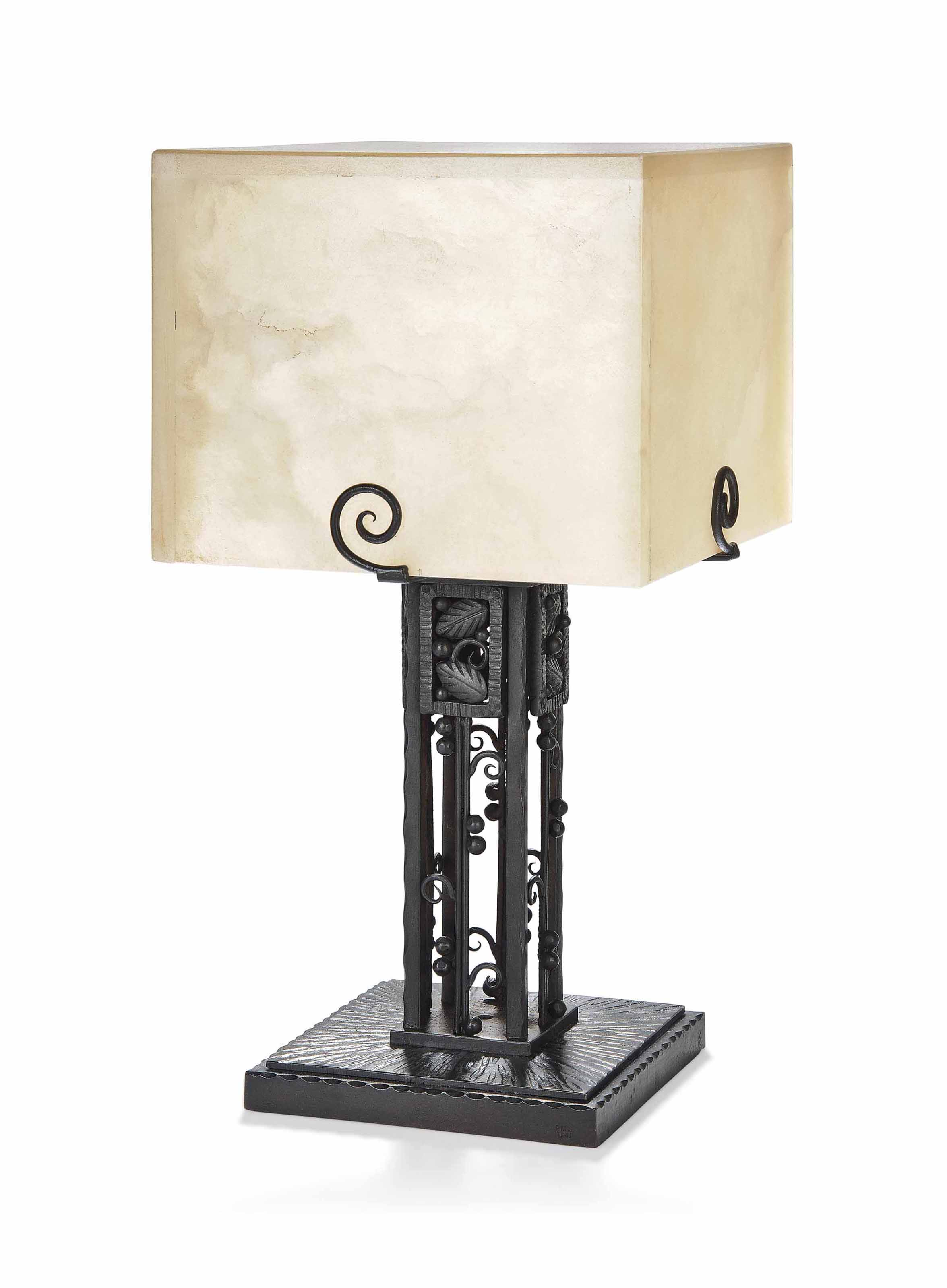 A PAUL KISS (1885-1962) ART DECO WROUGHT-IRON AND ALABASTER TABLE LAMP