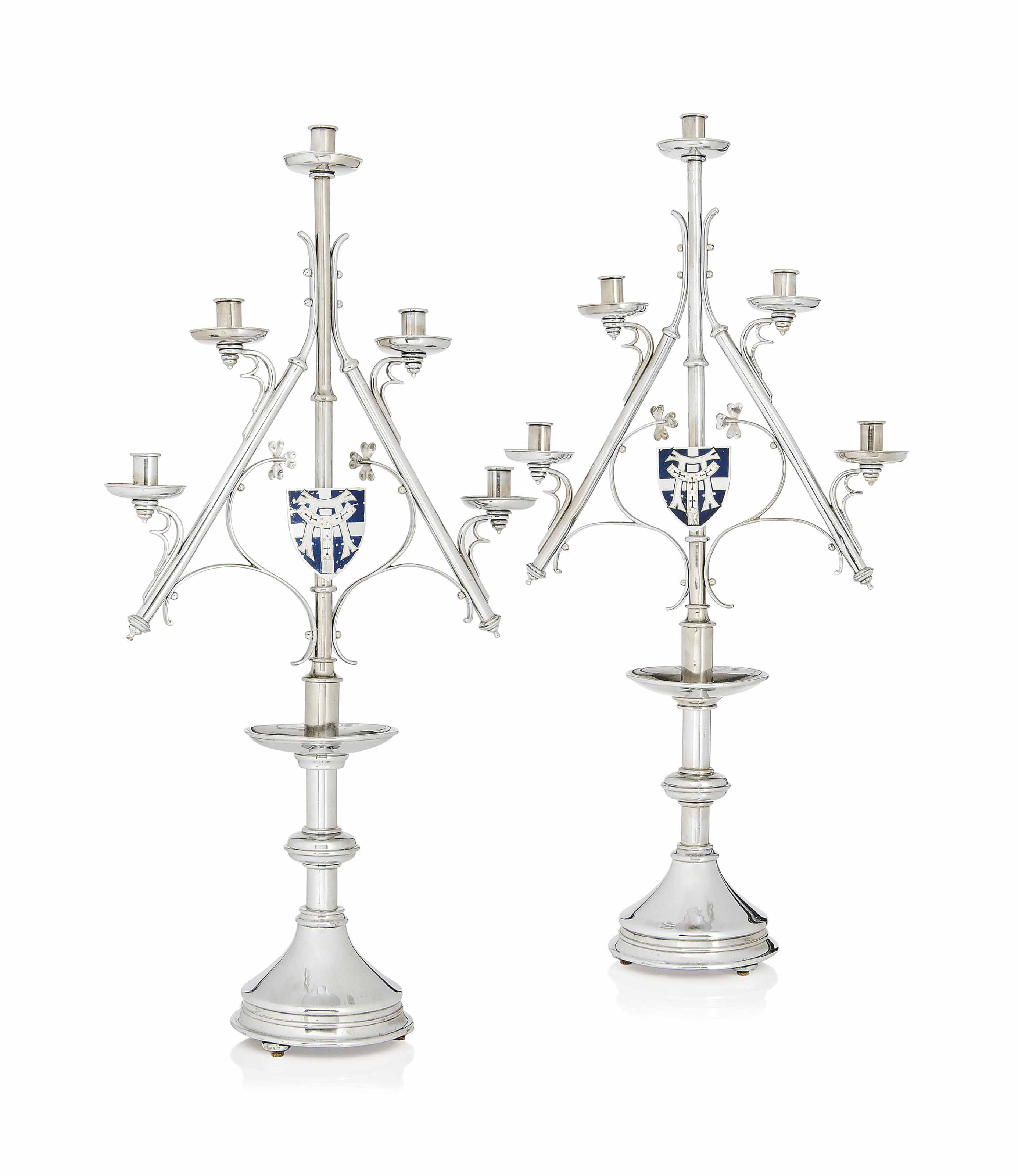 A PAIR OF A.W.N. PUGIN (1812-1852) NICKEL PLATED BRASS AND ENAMEL CANDELABRA MADE BY HARDMAN & CO