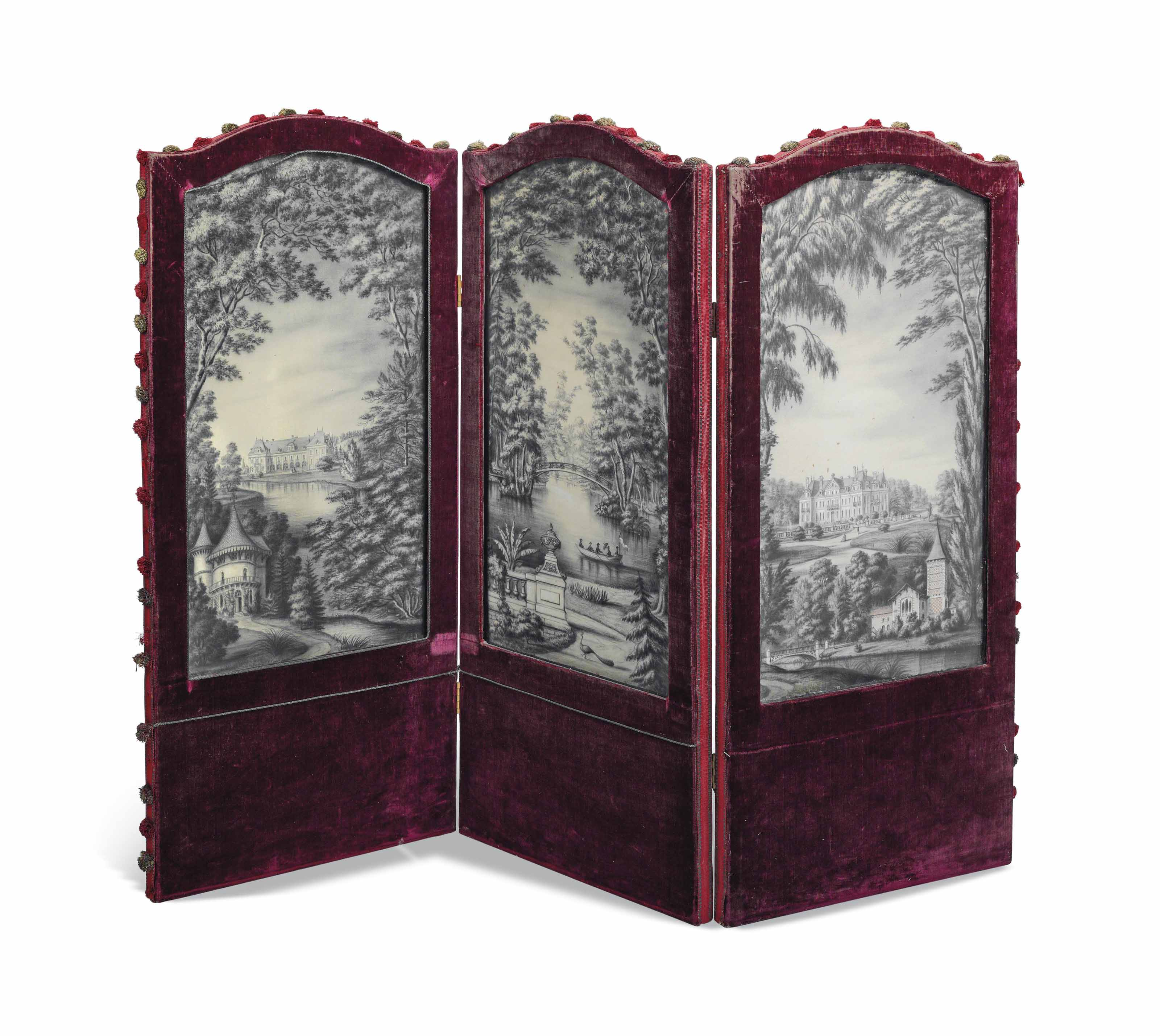 A FRENCH RED VELVET AND SILK PANELLED THREE-FOLD SCREEN