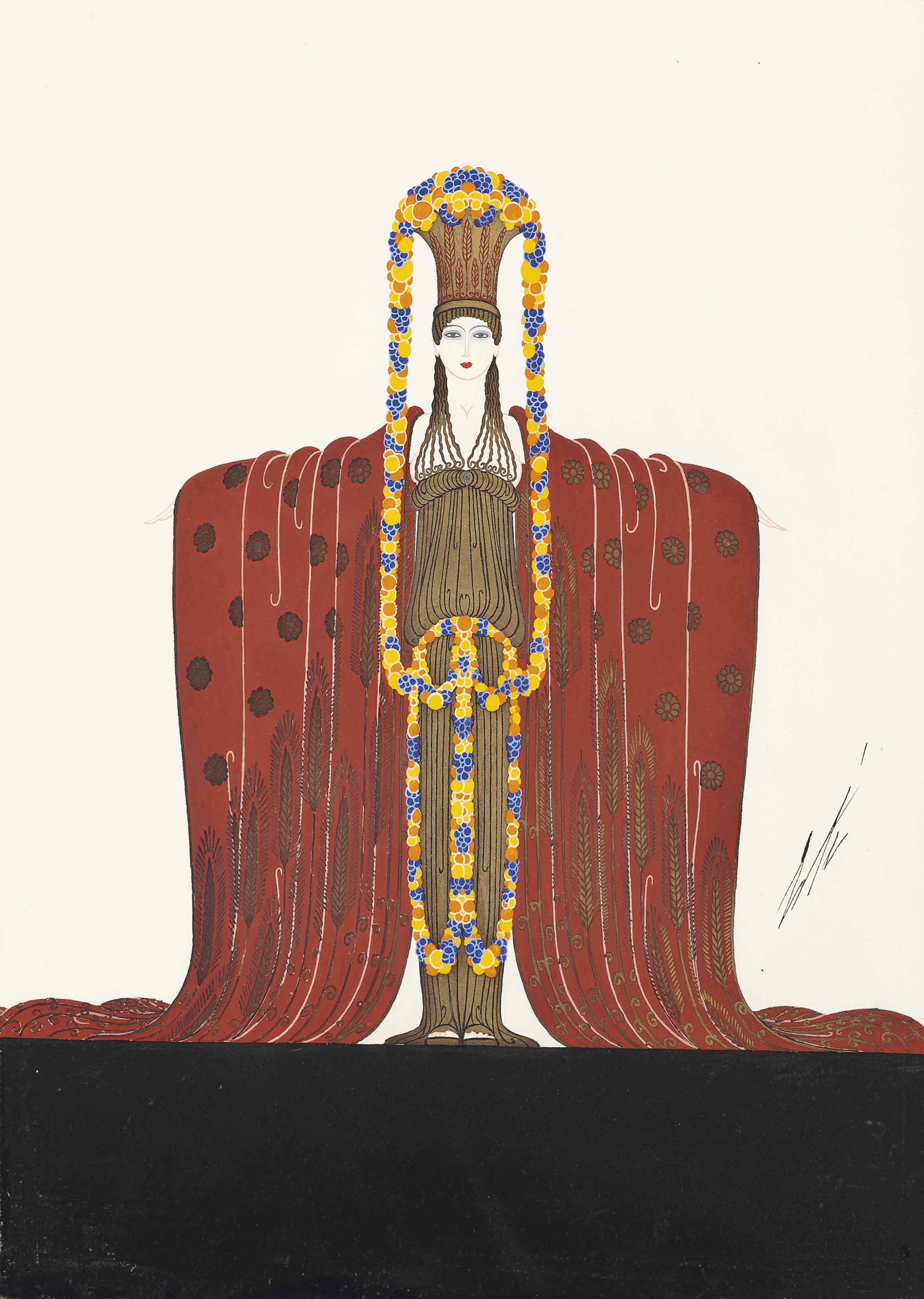 Costume design for Demeter from 'Les Idoles' at the Folies Bergere 1924; A design for the 'Treasures of Indochina' at L'Alcazar de Marseilles, 1923; and A study for The Pendant from 'Les Bijoux de Perles' at the Folies Bergere, 1923.