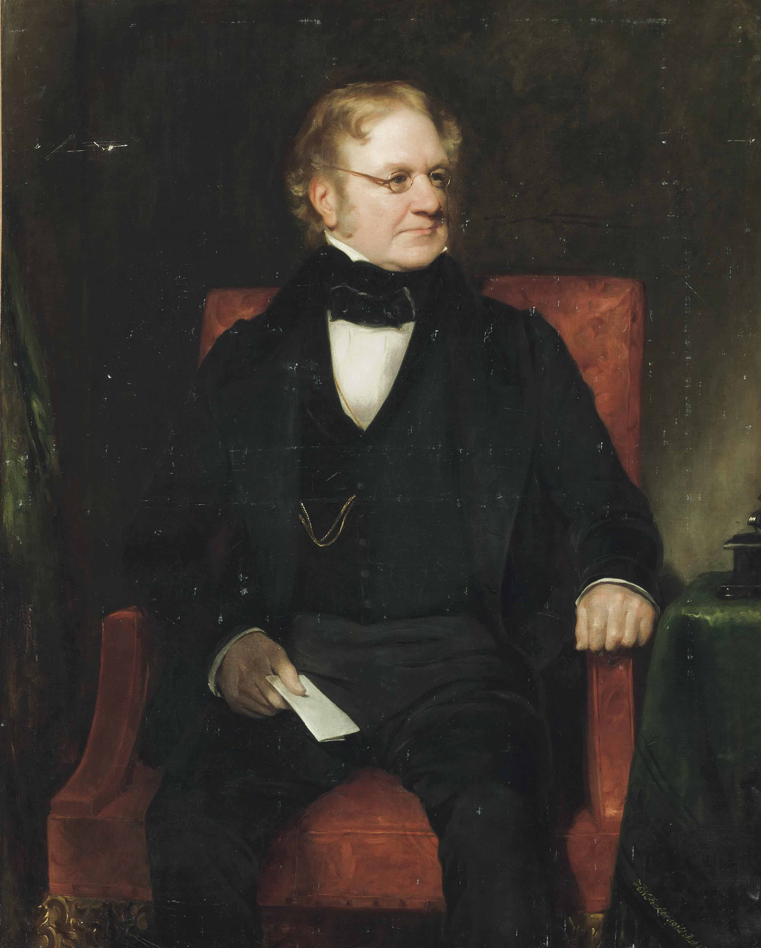 Portrait of Thomas Richter, three-quarter-length, seated in a black suit, with a paper in his right hand