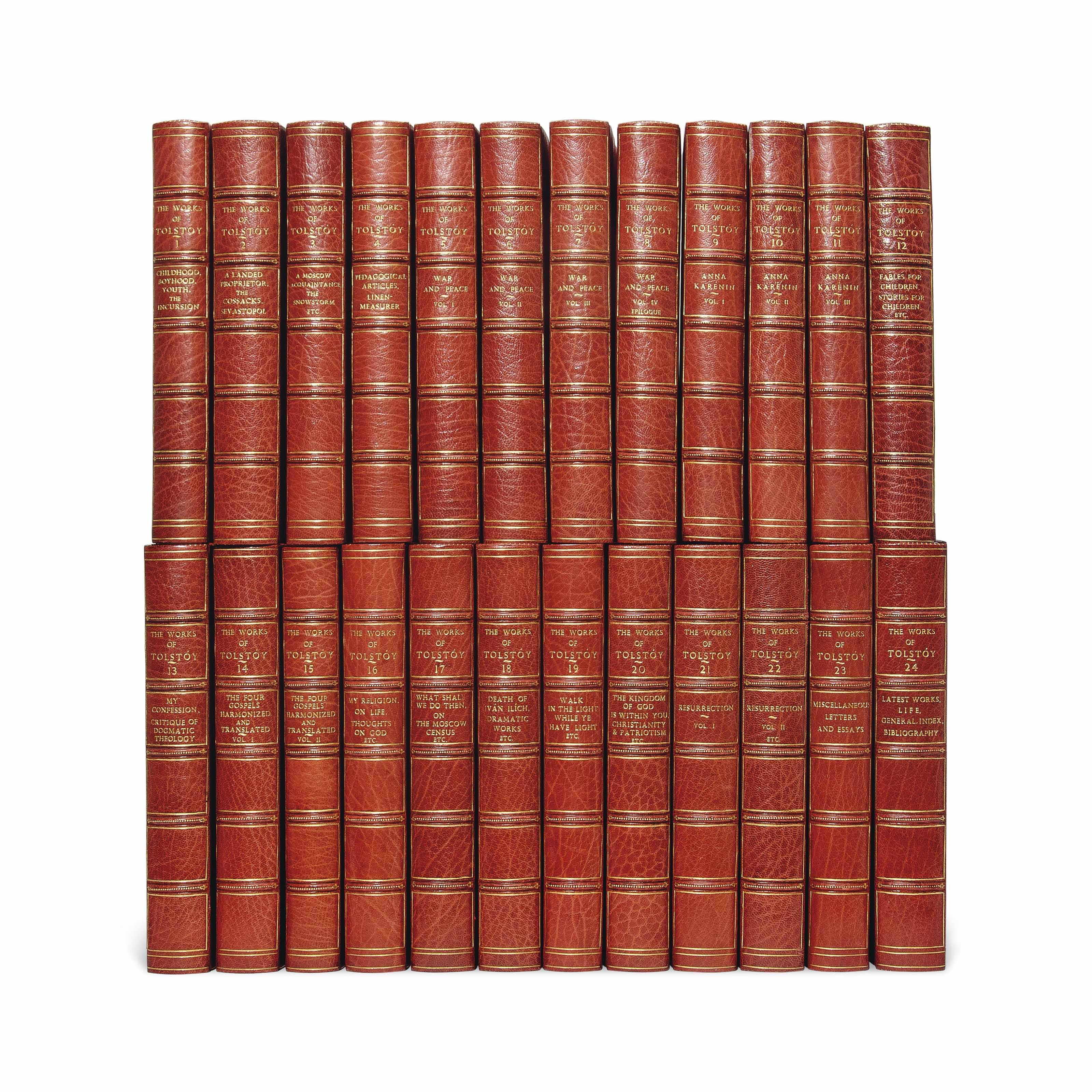 TOLSTOY, Leo (1828-1910). The Complete Works. London: G. J. Howell, 1905. 8° (222 x 250mm). Contemporary half red morocco, gilt spine, top edge gilt. LIMITED EDITION, NO. 23 OF 250 COPIES ONLY