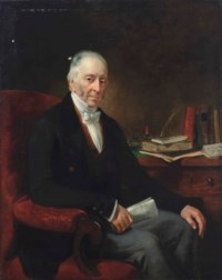 Portrait of William Davis of Leytonstone, seated at his desk, three-quarter length