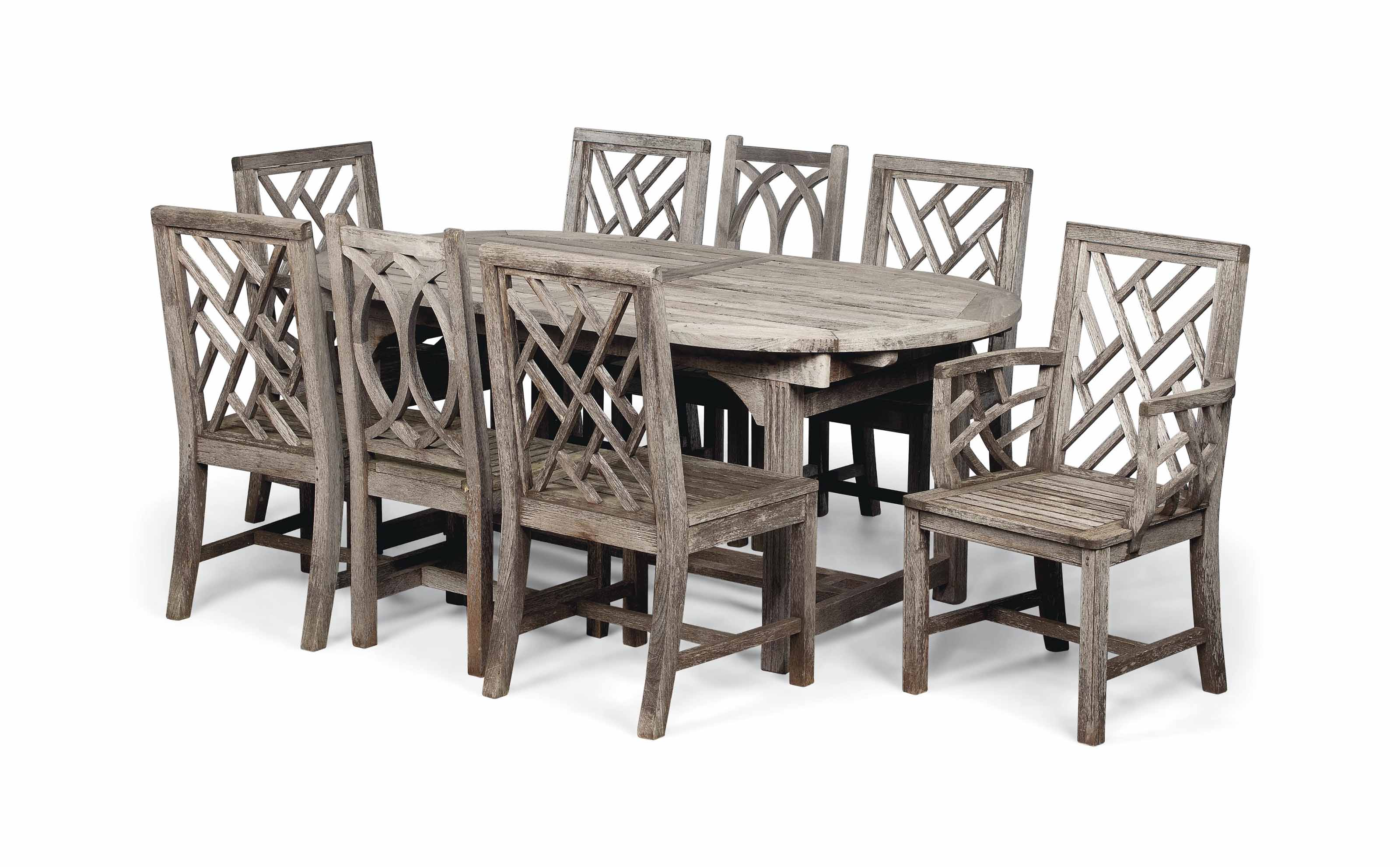 A SUITE OF HARDWOOD GARDEN FURNITURE  BY JULIAN CHICHESTER, LATE