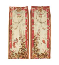 A PAIR OF FRENCH AUBUSSON TAPESTRY CURTAINS