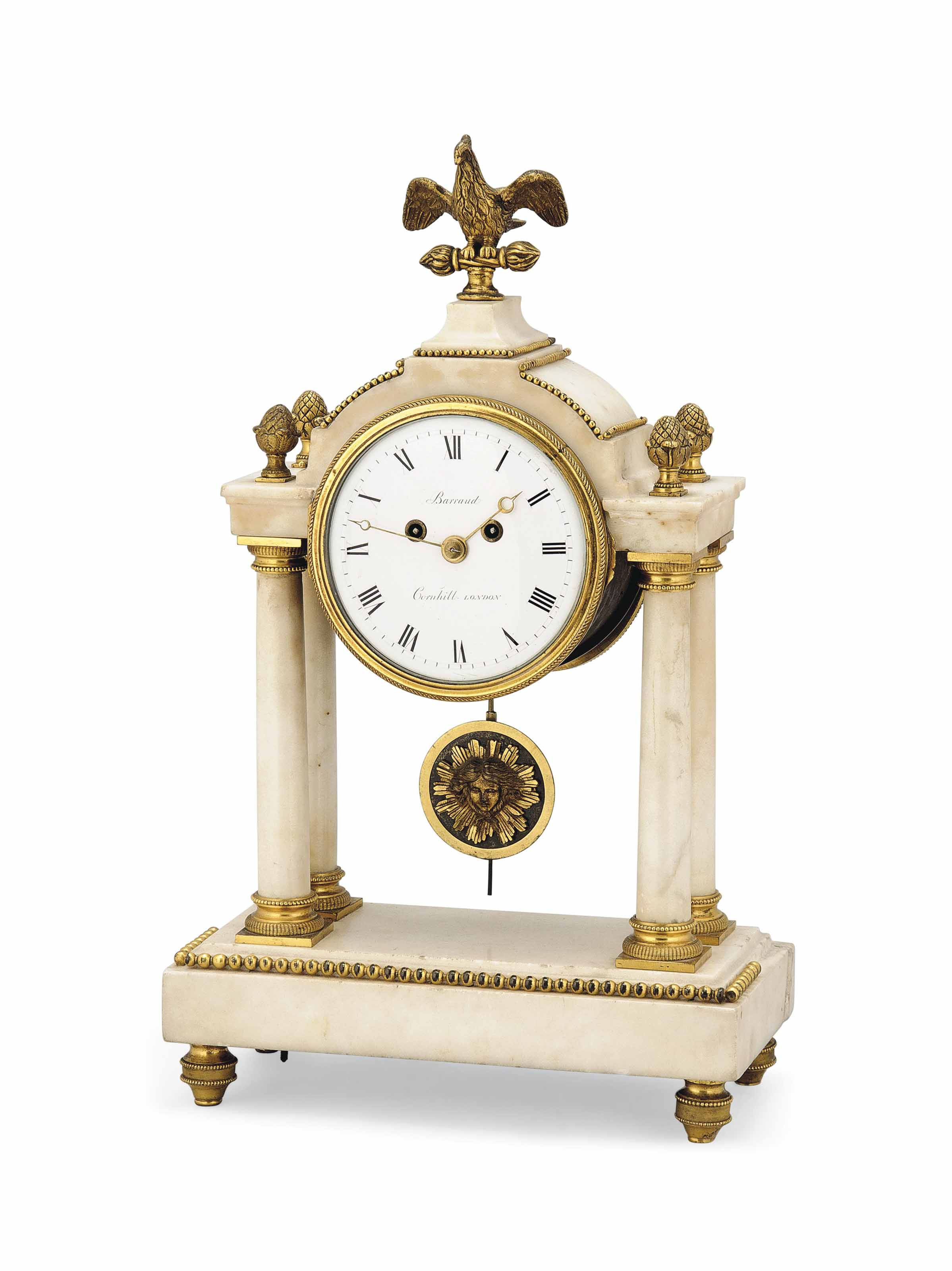 A REGENCY WHITE-MARBLE AND GILT-BRONZE PORTICO CLOCK