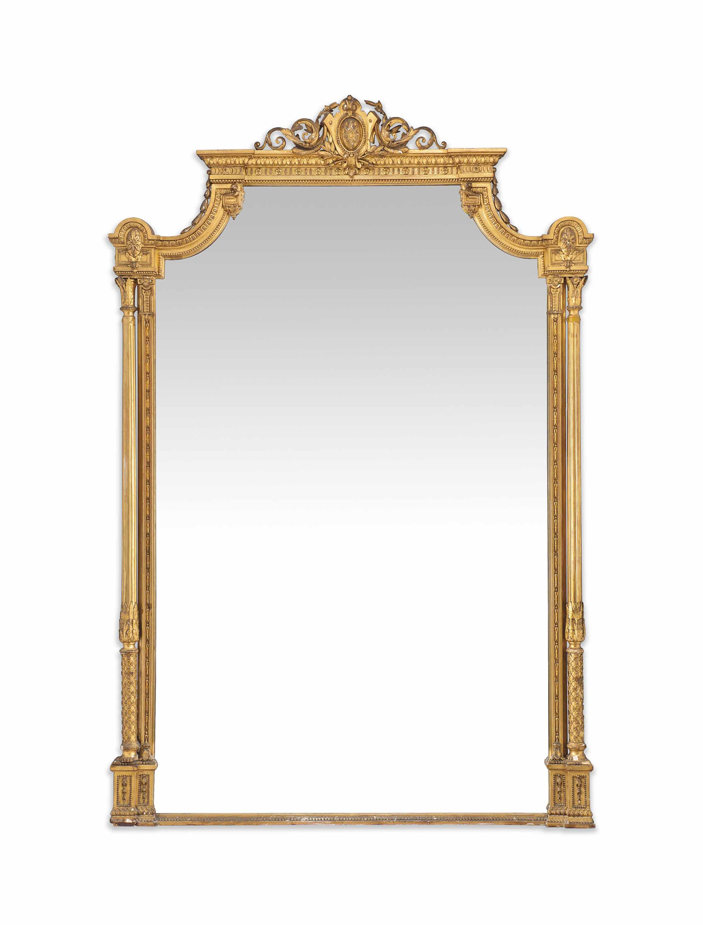 A LARGE FRENCH GILTWOOD AND COMPOSITION OVERMANTEL MIRROR