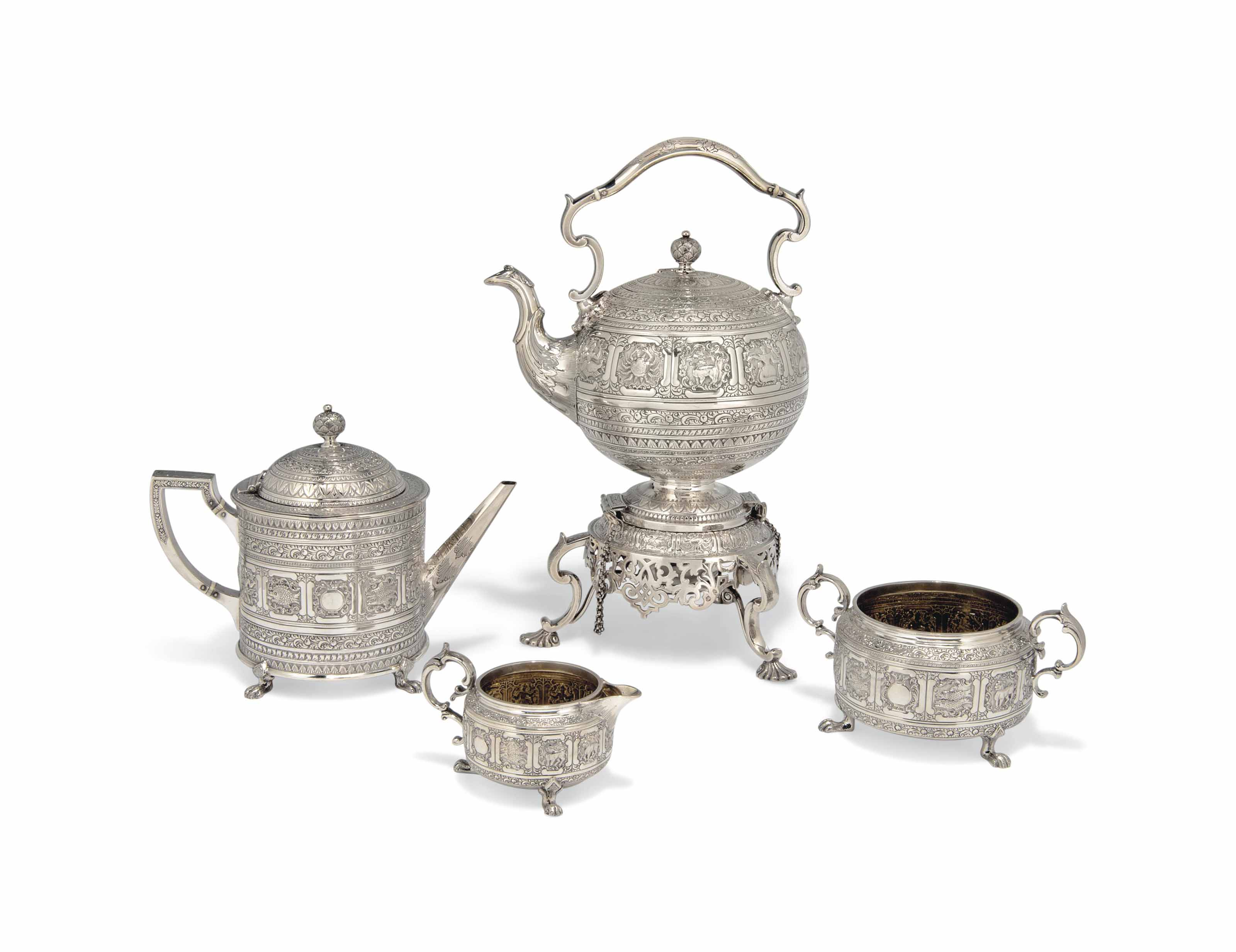 A VICTORIAN SCOTTISH THREE-PIECE SILVER TEASET WITH ASSOCIATED KETTLE, STAND AND LAMP