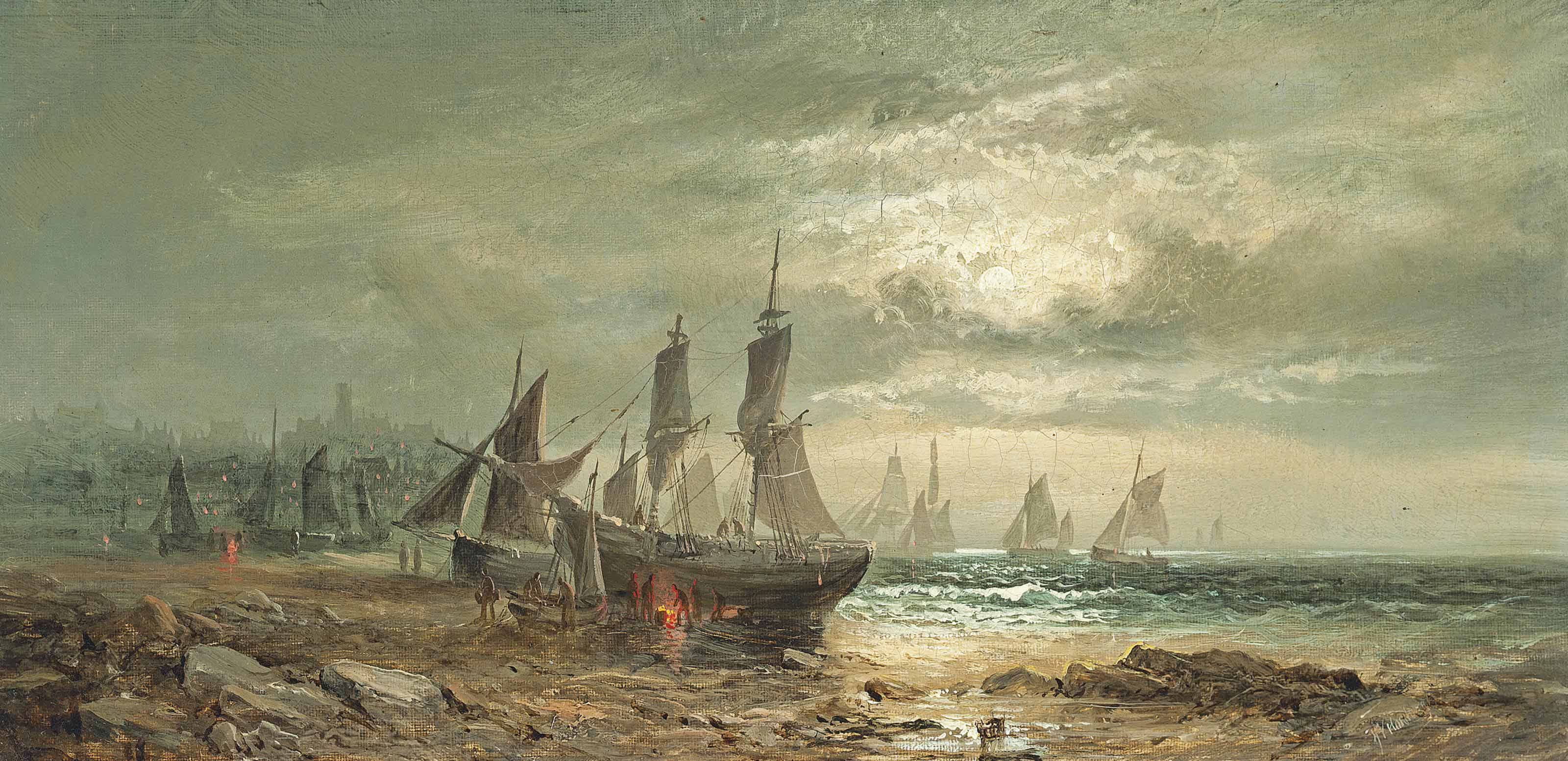 Careening the fishing boats at low tide, moonlight