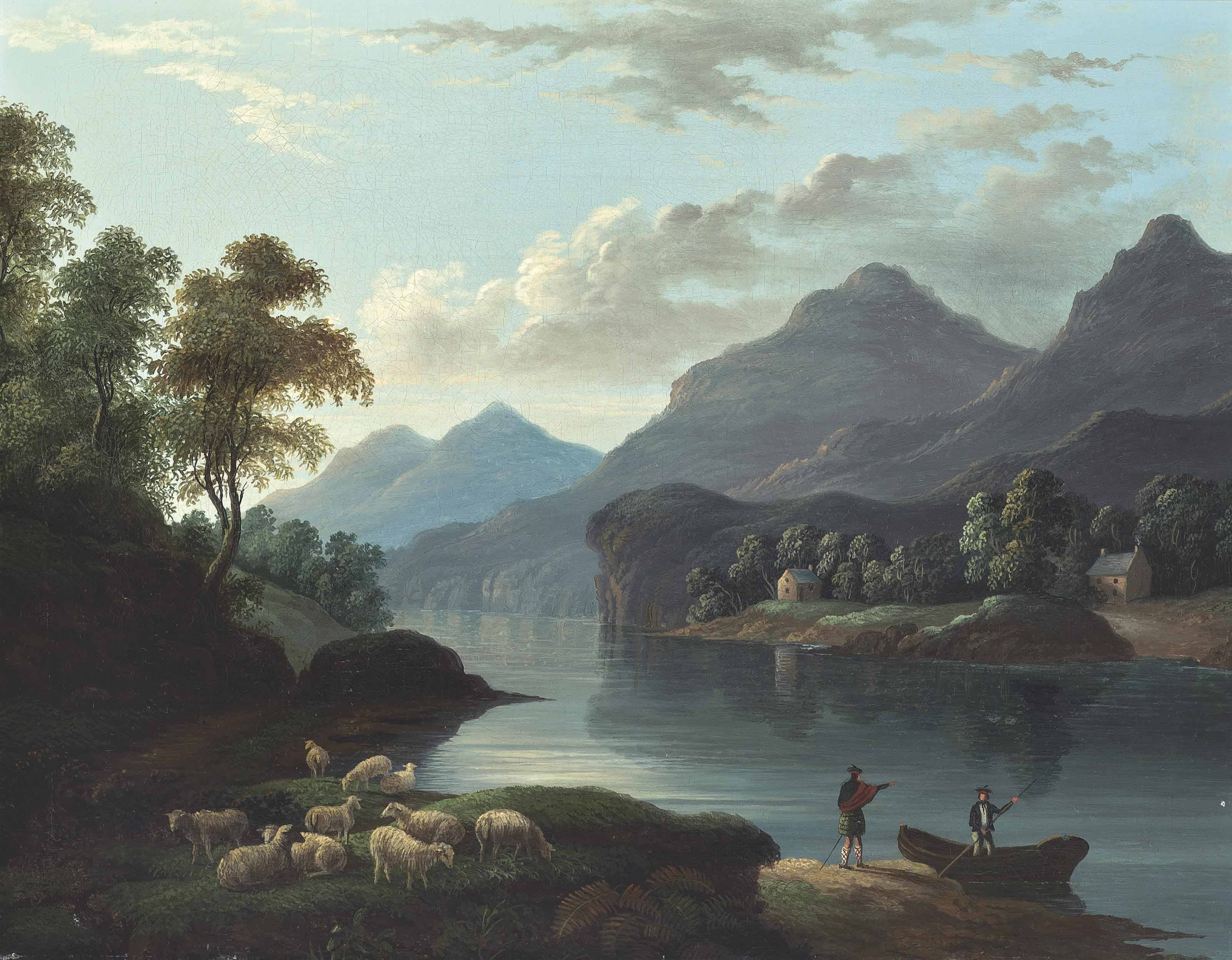 Cattle watering in a loch landscape; and Sheep and figures on the edge of a loch