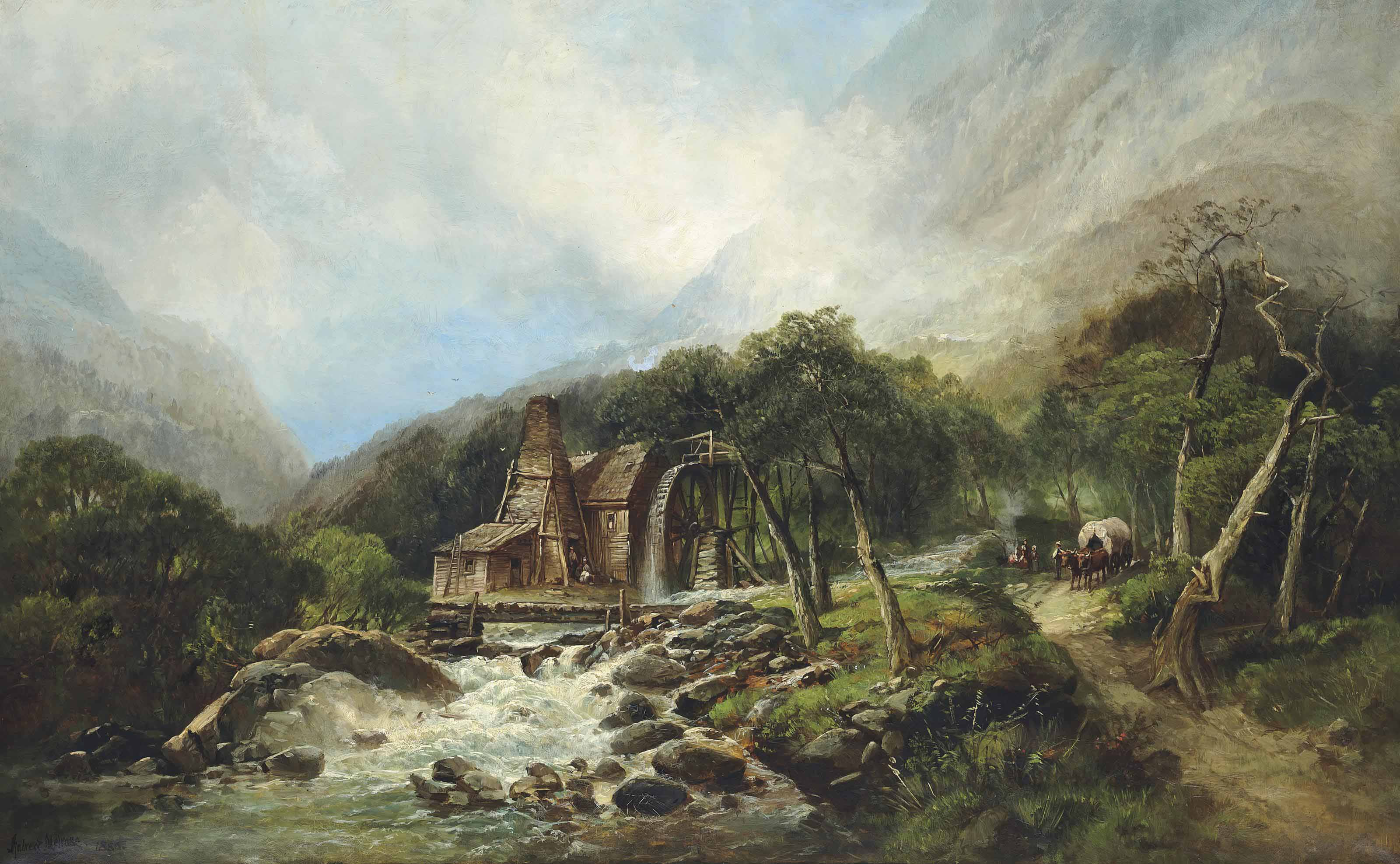 Pioneers on the road beside a watermill