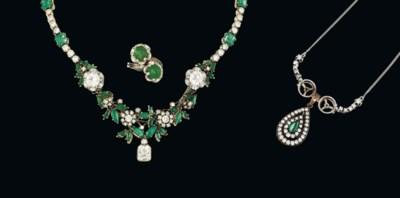 An emerald and diamond-set gro