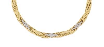 A diamond-set necklace and bra