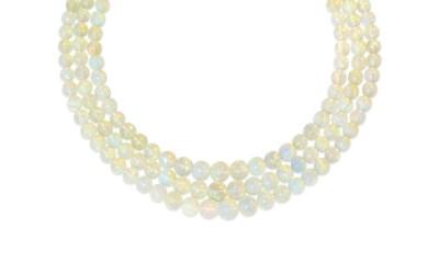 An opal and diamond bead neckl