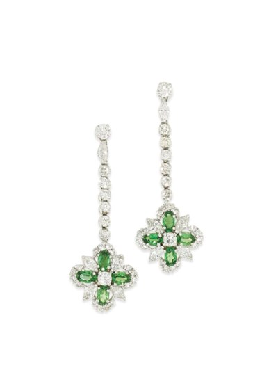 A pair of green garnet and dia