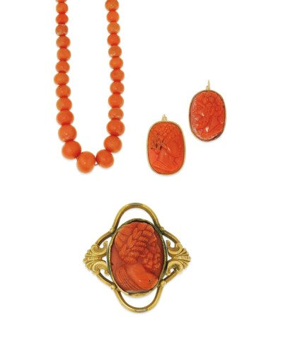 A group of 19th century coral