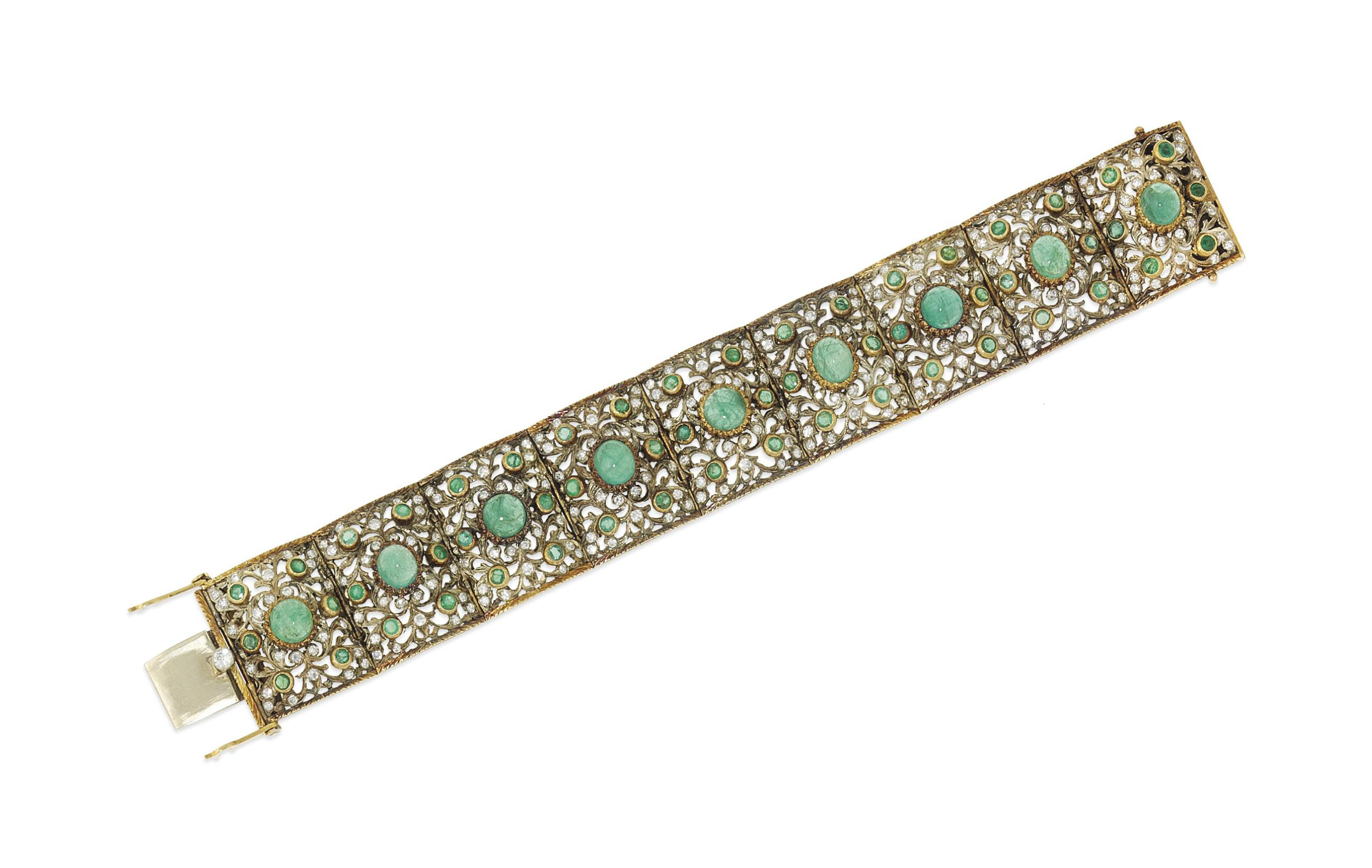 An emerald and diamond bracelet, by Fontana