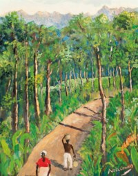 Two figures on a road, Jamaica