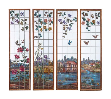 A SET OF FOUR PAINTED GLASS WI