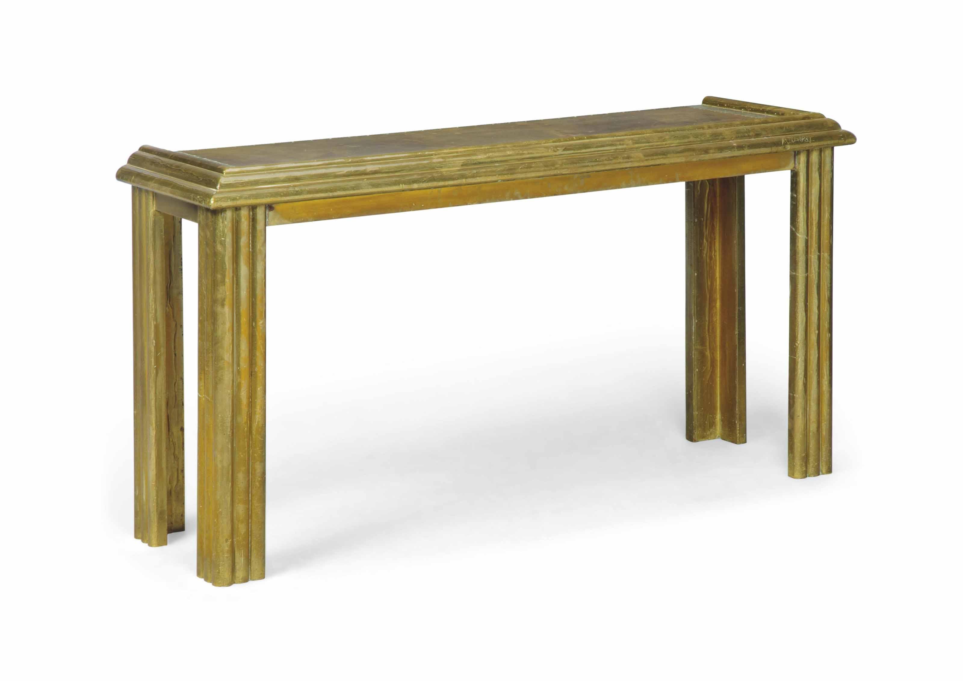 AN R. DUBARRY BRASS CLAD CONSOLE TABLE